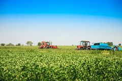 Agricultural machines in a soy field in a sunny summer day. Stock Photography