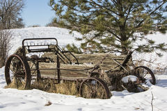 Agricultural manure spreader wooden snow winter Stock Photo