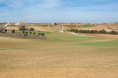 Agricultural mosaic landscape. In Toledo Province, Spain stock photography