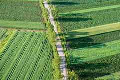 Agricultural Parcel. Bird's eye view of the Fields and Agricultural Parcel Royalty Free Stock Photos