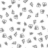 Agricultural Produce Farm Seamless Pattern Vector. Harvest, Spike Of Wheat And Stack Of Hay Farm Of Natural Product Monochrome Texture Icons. Bio Farming vector illustration