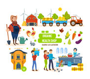 Agricultural products, livestock, purchase, sale of goods and delivery. Organic health shop concept. Full sales cycle of environmentally friendly products in Stock Photo