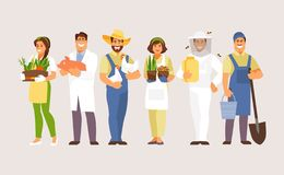 Agricultural professions vector. Set of agriculture professions. Farmer, breeder, gardener, veterinarian beekeeper Vector characters vector illustration