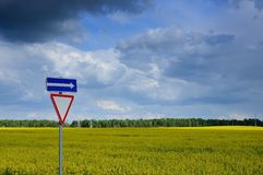 Agricultural raps field. Beautiful agricultural field of the blossoming raps behind a road sign under the cloudy sky Stock Photography