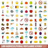 100 agricultural reclame icons set, flat style. 100 agricultural reclame icons set in flat style for any design vector illustration stock illustration
