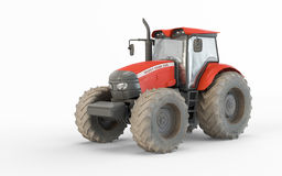 Agricultural red tractor Stock Photo