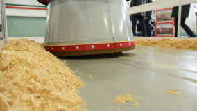 Agricultural robot removes hay from the barn - high technology for farmers stock video footage