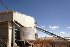 Agricultural scene in Australian outback. Tin shed and tank on a remote farm property Stock Photography