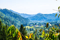 Agricultural settlement in mountains Royalty Free Stock Photos