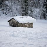 Agricultural shelter in winter stock photo