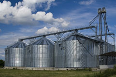 Agricultural silo the afield. Was built metal agricultural silo the afield royalty free stock photo