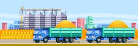 Agricultural silo trucks deliver wheat harvest to grain storage elevator. Cereal harvesting vector illustration stock illustration
