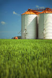 Agricultural silos in the fields Royalty Free Stock Image