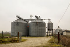 Agricultural silos in full view Royalty Free Stock Photography