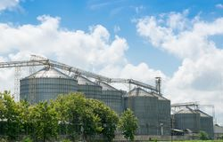 Agricultural Silos  for storage and drying of grains Stock Photo
