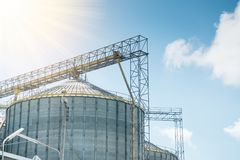 Agricultural Silos  for storage  of grains Stock Photo