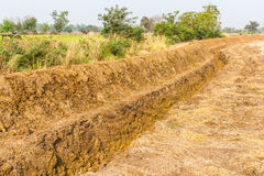 Agricultural soils trench Royalty Free Stock Image