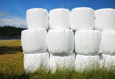 Agricultural stack with straw bales packaged Stock Photo