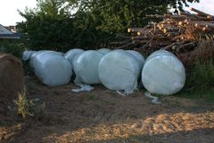Agricultural storage lot where several bales of hay silage wrapped in foil are sitting next to a pile of timber. Agricultural storage lot where several bales of Stock Image