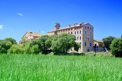 Agricultural Technology Research Institute in Caldes de Montbui, Barcelona. Rye field and blue sky. Empty copy space Stock Photography