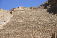 Agricultural terraces below Inca city ruins Royalty Free Stock Images