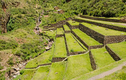Agricultural terraces at the Inca site Pisac, Peru Royalty Free Stock Images