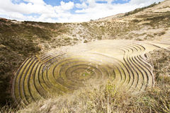 Agricultural terraces. Mystereous agricultural terraces of Moray, Peru Stock Photo
