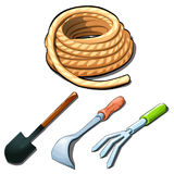 Agricultural tools, shovels, rake, scraper, rope Royalty Free Stock Photo