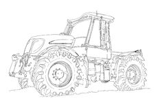 Agricultural tractor illustration art drawing Royalty Free Stock Photo