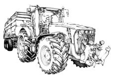 Agricultural tractor illustration art drawing Royalty Free Stock Images