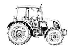 Agricultural tractor illustration art drawing Stock Photos