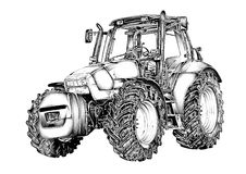 Agricultural tractor illustration art drawing Royalty Free Stock Photography