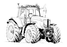 Agricultural tractor illustration art drawing Stock Photography