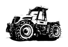 Agricultural tractor illustration art Stock Photos