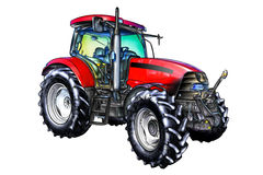 Agricultural tractor illustration color  art Stock Photo