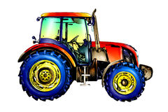 Agricultural tractor illustration color  art Royalty Free Stock Photo