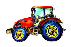 Agricultural tractor illustration color  art Royalty Free Stock Photography