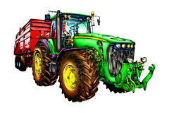 Agricultural tractor illustration color  art Stock Image