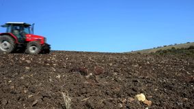 Agricultural tractor sowing seeds stock video