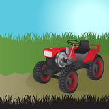 Agricultural tractor, transport for farm. Vector illustration Stock Photos