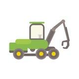 Agricultural tractor vector illustration. Wheel industrial sign farmer tire harvesting truck. Agronomics field machinery farming transportation stock illustration