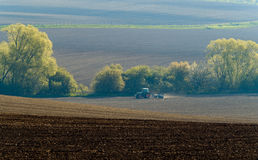 Agricultural tractor working Royalty Free Stock Image