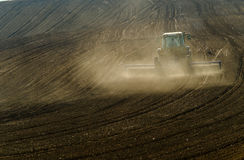 Agricultural tractor working Royalty Free Stock Photography
