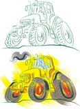 Agricultural tractors. Color  illustration Stock Photo