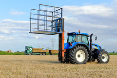 Agricultural traktor with hay bails Royalty Free Stock Images