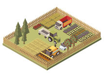 Agricultural Vehicles Isometric Design. With harvesting machine truck and tractor farmland and garden beds vector illustration Stock Photography