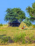 An agricultural worker builds a new straw bale construction Stock Photography