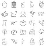 Agriculturalist icons set, outline style. Agriculturalist icons set. Outline set of 25 agriculturalist vector icons for web isolated on white background Stock Photo