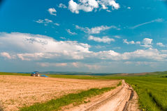 Tractor in the field and blue sky with white cloud Royalty Free Stock Photos