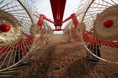 Agriculture. A new machinery awaitin for sale Royalty Free Stock Photography